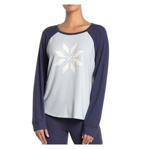 FREE PRESS Blue Snowflake Lounge Pajama Top NWT